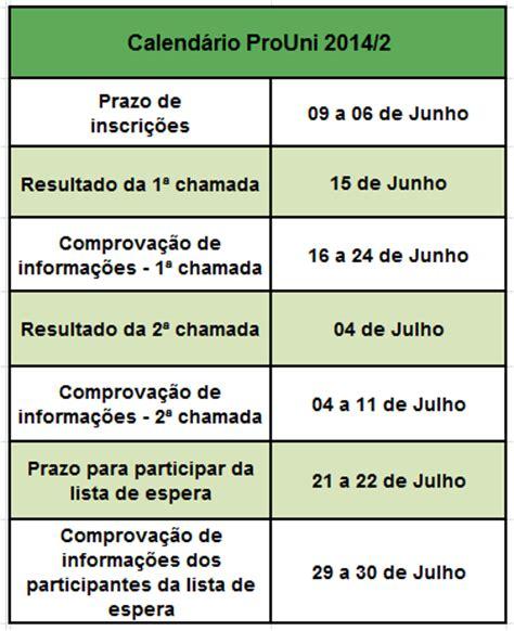 Calendã Enem 2017 Calend 225 Prouni 2014 2 Infoenem