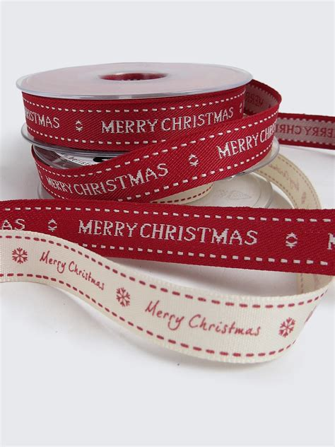 15mm merry christmas ribbon red or white
