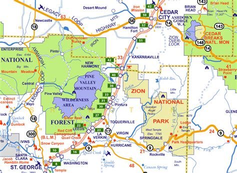 zion park map zion national park map of utah