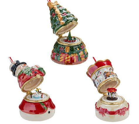 mr christmas set of 3 porcelain music ornaments w gift