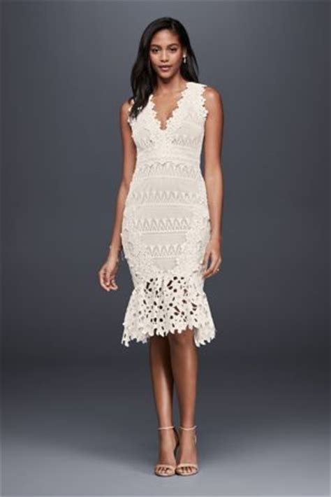 Lace Sheath Midi Dress mixed lace sheath midi dress with fishtail hem davids bridal