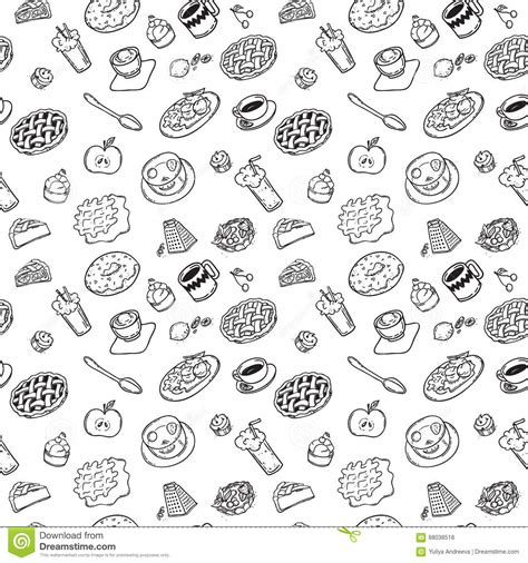 seamless pattern by hand seamless pattern with hand drawn doodle dessert black and