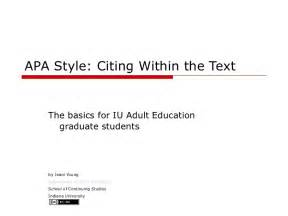 Apa Essay Citation by Apa In Text Citations