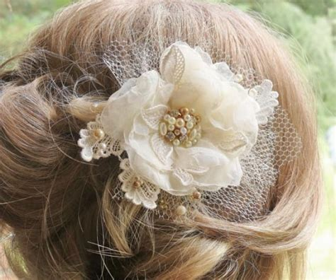 hair flower clip bridal wedding flower girl tulle silk chagne hair flower hair accessory bridal hair flower