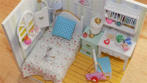how to make a doll bedroom diy miniature dollhouse bedroom youtube