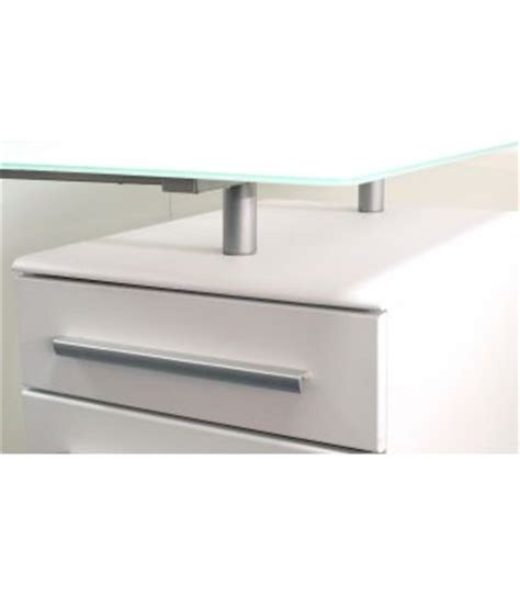 cantalla glass top desk with integral 3 drawer pedestal