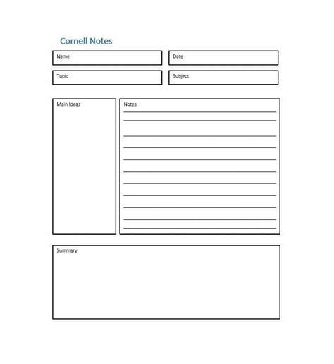 note taking template pdf 36 cornell notes templates exles word pdf