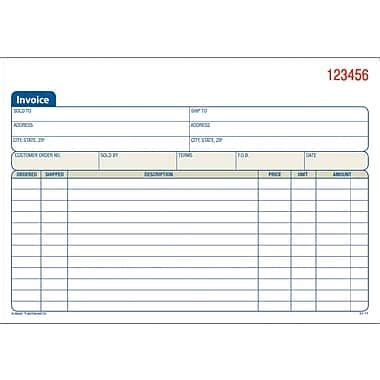 adams 174 carbonless invoice form books staples 174