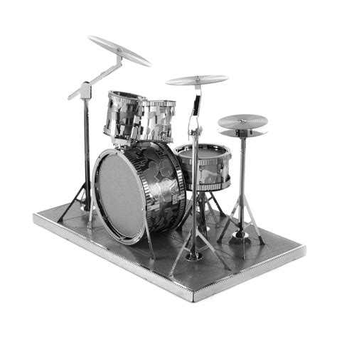 Fascinations Metal Earth Rock Band Drum Set innovatoys metal earth drum set 3d metal musical model