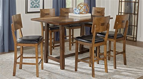 Counter Height Dining Room Sets Valleyside Oak 7 Pc Rectangle Counter Height Dining Set