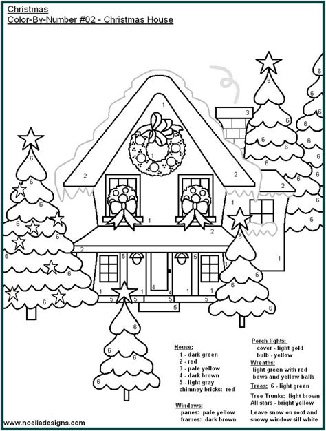 coloring pages christmas color by number christmas color