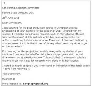 scholarship proposal letter sample proposals