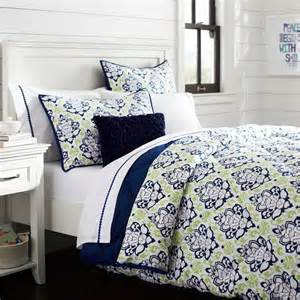 decorator damask pouf comforter sham navy mint