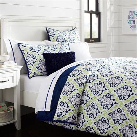 Mint Comforter by Decorator Damask Pouf Comforter Sham Navy Mint
