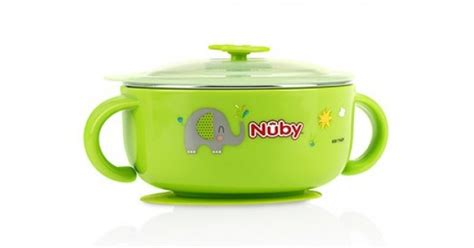 Nuby Sure Grip Suction Bowl Mangkok Nuby 27 nuby sure grip warming stainless steel suction bowl with lid green babyonline