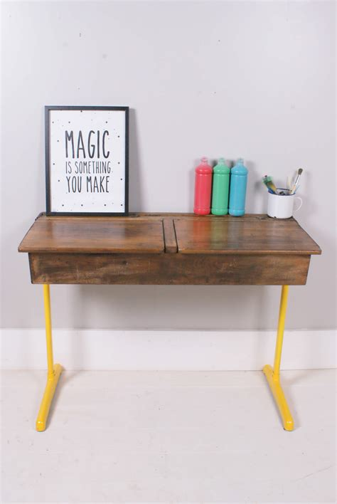 vintage style childrens desk children s vintage desk with yellow metal