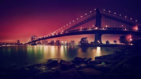 manhattan night in new york city 4k wallpapers wallpaper manhattan bridge suspension bridge new york