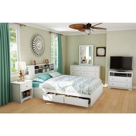 south shore vito  drawer queen size storage bed  pure