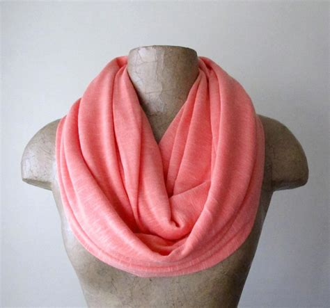 Handmade Infinity Scarf - coral infinity scarf handmade coral circle scarf jersey