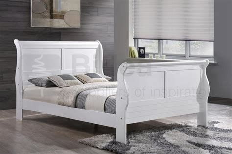 White Wooden Sleigh Bed Birlea Chateaux White Wooden Sleigh Bed Frame Beds Direct Warehouse Gainsborough Lincolnshire