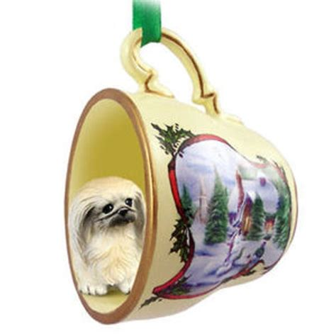 pekingese dog christmas holiday teacup ornament figurine
