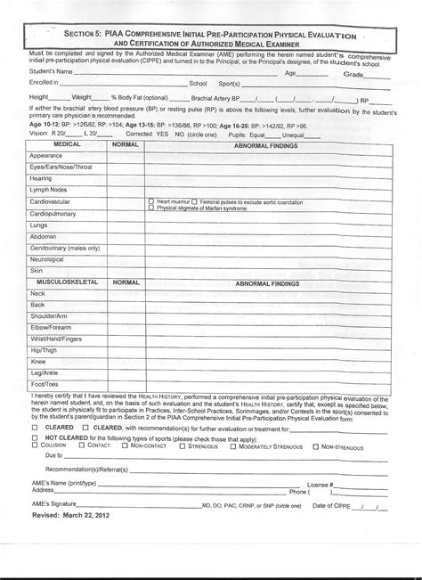 printable physical examination forms edit fill out download