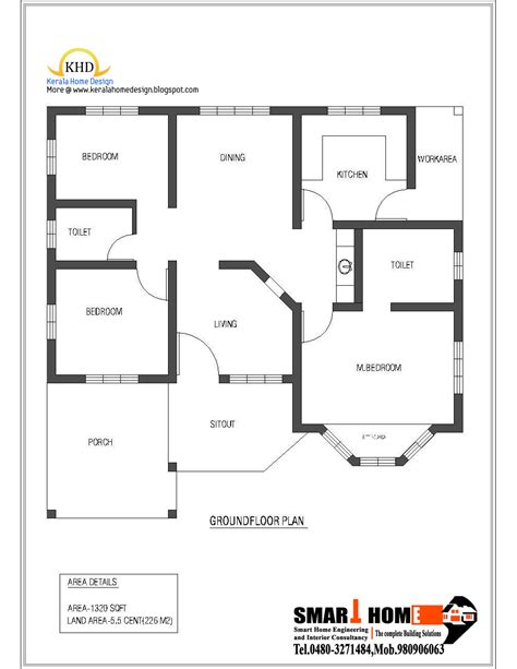 Single Home Floor Plans Single Floor House Plan And Elevation 1320 Sq Ft