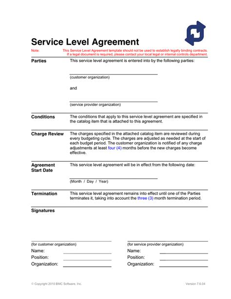 service level agreement template in word and pdf formats