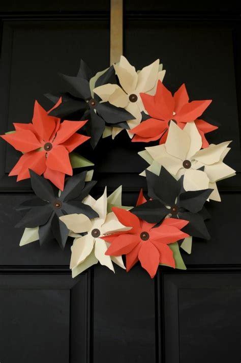 Paper Poinsettia Craft - diy paper poinsettia wreath craft diy