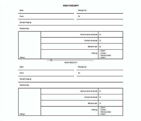 rental receipt template doc rent invoice template