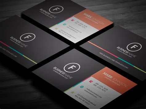 clean multicolor corporate business card template 187 free