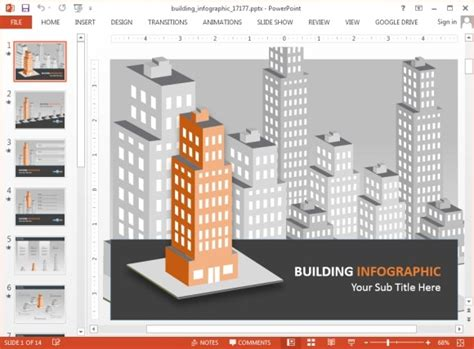 animated buildings infographic powerpoint template
