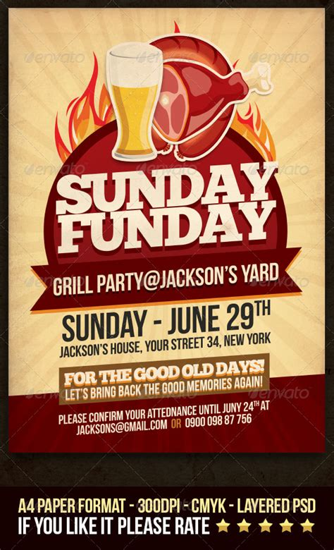 sunday funday grill party flyer graphicriver