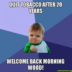 Morning Wood Meme - quit tobacco after 20 years welcome back morning wood