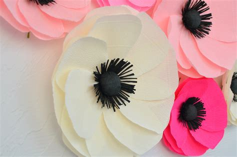 Big Paper Flowers - 6 paper flowers large paper poppies wedding