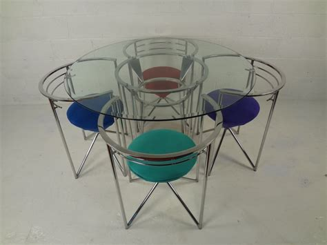 Dining Table And Chairs Glass 70s Retro Glass And Chrome Dining Table And Chairs At 1stdibs