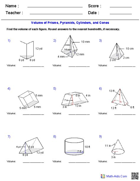 Volume Worksheets With Answers by Prisms Pyramids Cylinders Cones Volume Worksheets