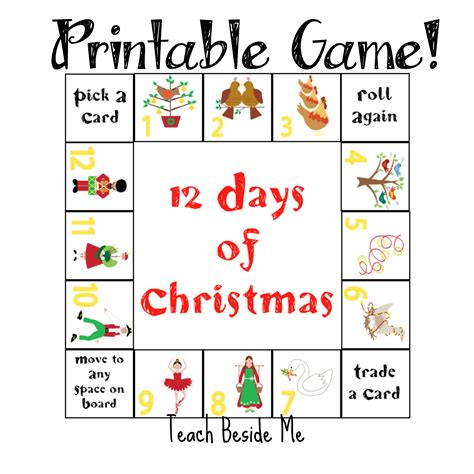 printable games for school 12 days of christmas printable game teach beside me