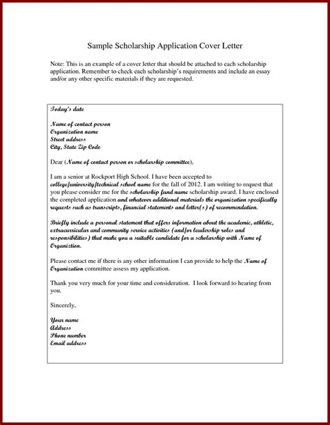 Scholarship Letter Writing Sle How To Write A Letter Application Scholarship
