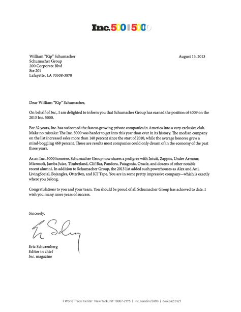 Award Honoree Letter Sg Chosen As Inc 5000 Honoree Health Care Insights Schumacher
