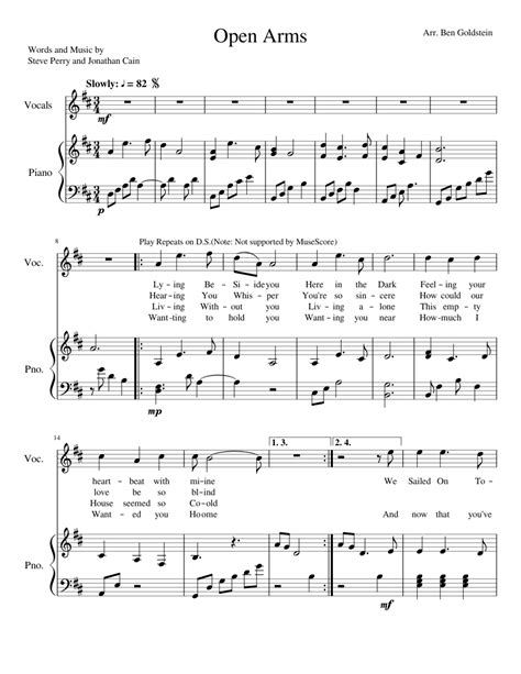 tutorial piano open arms open arms sheet music for percussion piano and keyboard