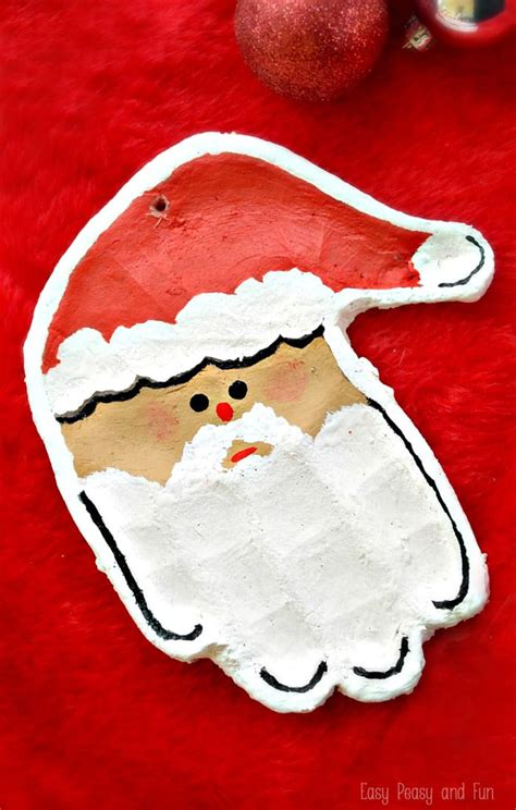 handprint santa salt dough ornament easy peasy and fun