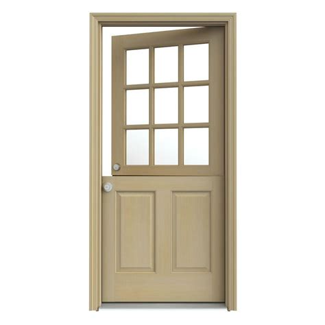 Home Depot Wood Exterior Doors Jeld Wen 36 In X 80 In 9 Lite Unfinished Fir Wood Prehung Front Door With Brickmould