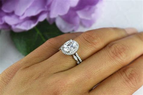 2 25 ctw oval wedding set vintage style engagement ring
