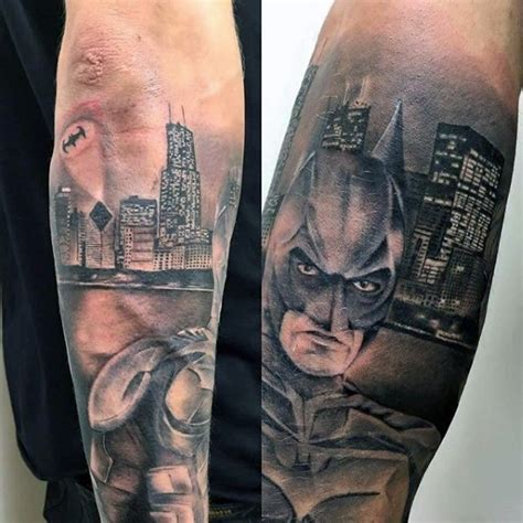 batman city tattoo illustrative style colored forearm tattoo of batman with