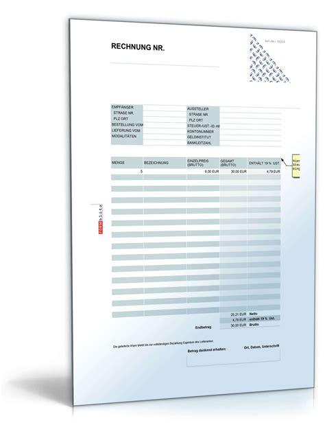 Muster Rechnungen Umsatzsteuer Rechnung Brutto Umsatzsteuer Einheitlich Muster Zum