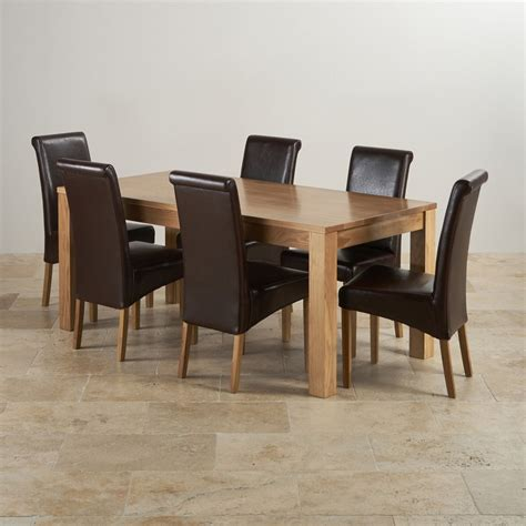 Solid Oak Dining Table And 6 Chairs Oakdale Solid Oak 6ft Dining Table 6 Brown Leather Chairs