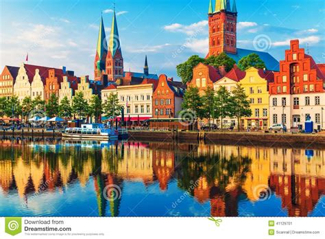 Superb Harbor City Church #4: Lubeck-germany-scenic-summer-sunset-view-old-town-pier-architecture-41129701.jpg