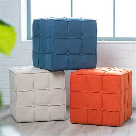 Ottoman Picture by Belham Living Pilar Tufted Square Ottoman Ottomans At