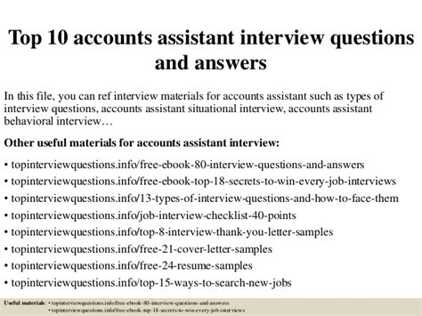 top 10 accounts assistant questions and answers